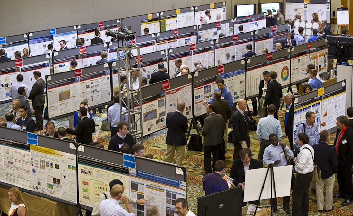 a poster session (Photo by DENNIS SCHROEDER / NREL)